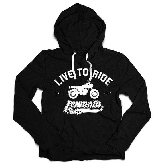 Lexmoto Black Lightweight Hooded Sweatshirt Small